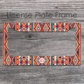 Aztec look multicolors monogrammed license frame